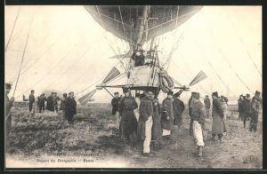 AK Sports - Aerostation, Depart du Dirigeable Patrie, Zeppelin