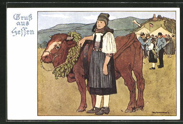 Künstler-AK Otto Ubbelohde: Mädchen in hessische Tracht neben einem Ochsen