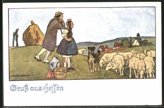 Künstler-AK Otto Ubbelohde: Schäfer mit Mädchen in hessische Tracht