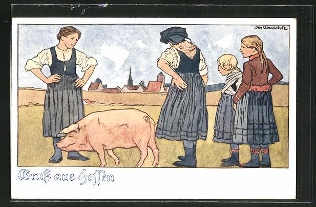 Künstler-AK Otto Ubbelohde: Bäuerinnen in hessische Tracht mit Schwein