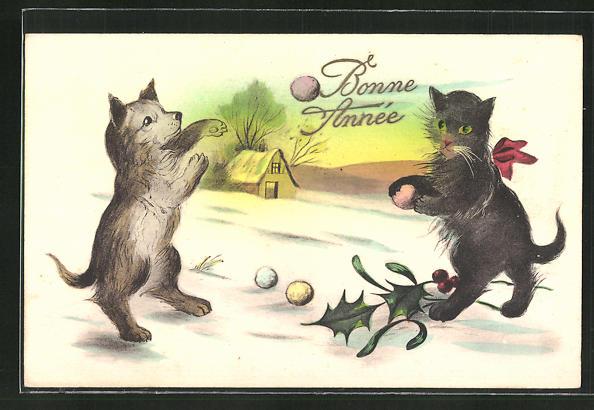 AK Bonne Annee, Katzen werfen Schneeball