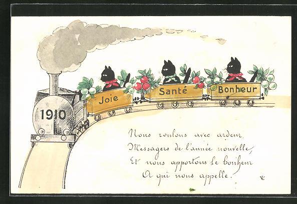 AK Katzen in einer Eisenbahn 1910, Joie, Santé, Bonheur