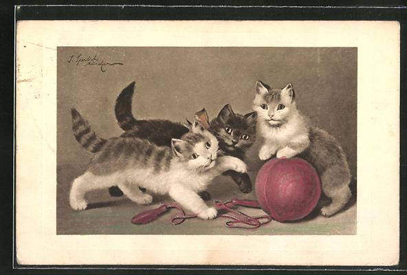AK drei Katzen spielen mit einem Ball