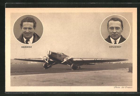 AK Portrait Mermoz & Couzinet, Flugzeug auf der Startbahn 0