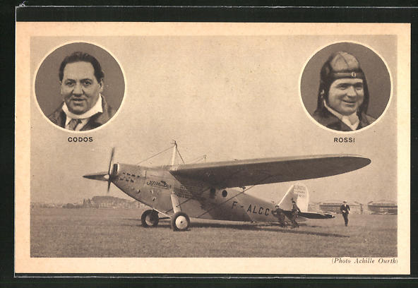 AK Portrait Codos & Rossi, L'avion Bieriot 110 Hispano 500 CV, Flugzeug 0