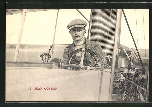 AK Pilot Jean Gobron in seinem Flugzeug