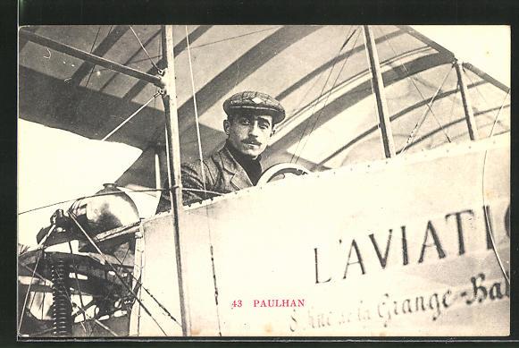 AK Pilot Paulhan in seinem Flugzeug