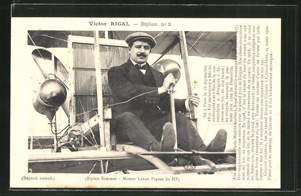 AK Victor Rigal in seinem Flugzeug