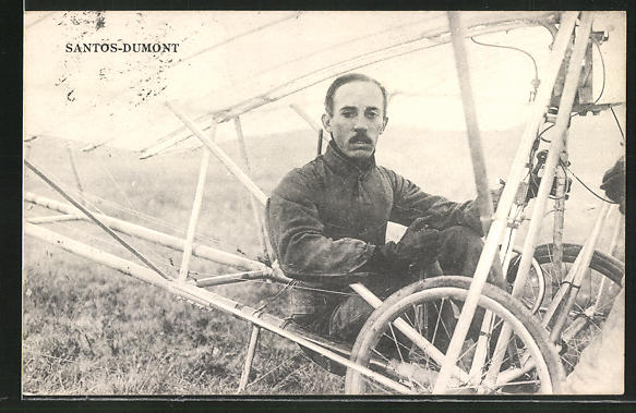 AK Santos Dumont mit seinem Flugzeug 0