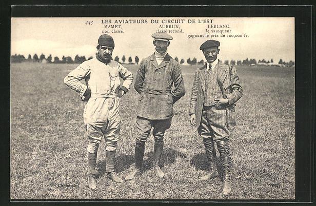AK Les Aviateurs du Circuit de L'Est, Mamet, Aubrun & Leblanc, Flugzeug
