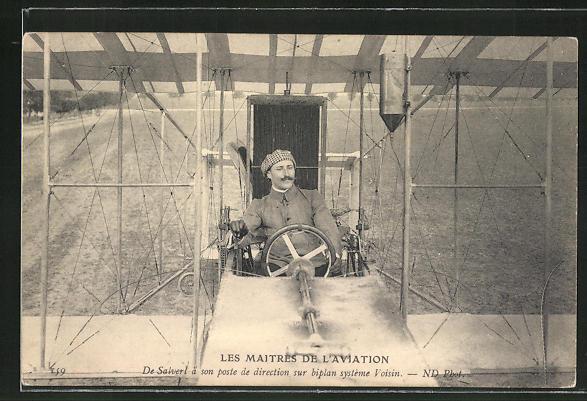 AK Les Maitres de L'Aviation, De Salverl á son poste de direction sur biplan systéme Voissin, Flugzeug 0