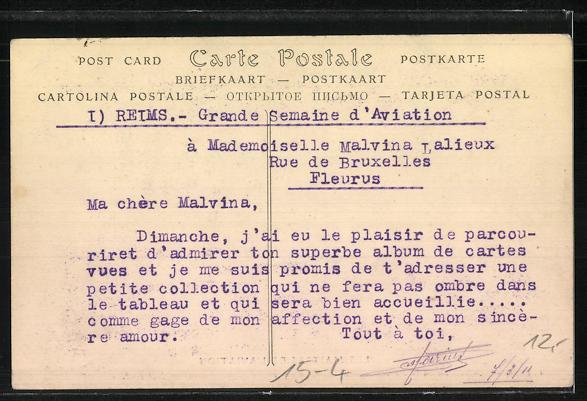 AK Les Maitres de L'Aviation, De Salverl á son poste de direction sur biplan systéme Voissin, Flugzeug 1