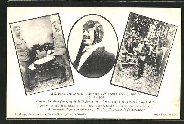 AK Adolphe Pégoud, Illustre Aviateur Dauphinois, Flugzeug 0