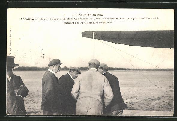 AK L'Aviation, M. Wilbur Wright écoute la Commission de Controle á sa descente de l'Aeroplane aprés avior vole, Flugzeug