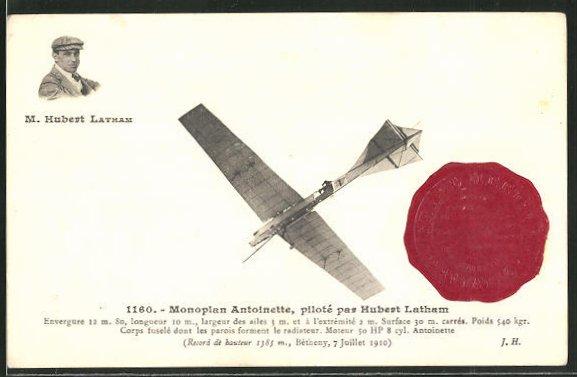 AK Monoplan Antionette, piloté par Hubert Latham, Flugzeug