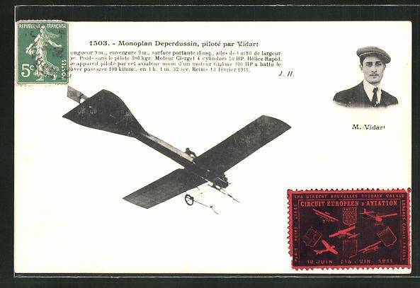 AK Monoplan Deperdussin, pilote par Vidart, Flugzeug