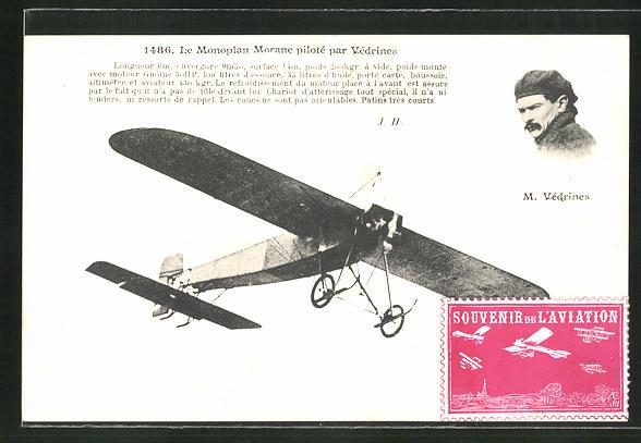 AK Le Monoplan Morane pilote par Védrines, Flugzeug 0