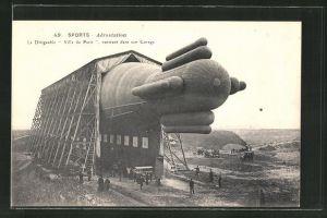 AK Sports-Aerostation, Le Dirigeable, Ville de Paris, rentrant dans son Garage, Zeppelin
