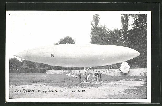 AK Les Sports, Dirigeable Santos Dumont Nr. 16. Zeppelin 0