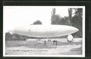 AK Les Sports, Dirigeable Santos Dumont Nr. 16. Zeppelin