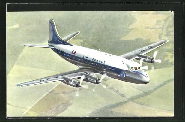 AK Air France, Flugzeug Vickers im Flug 0