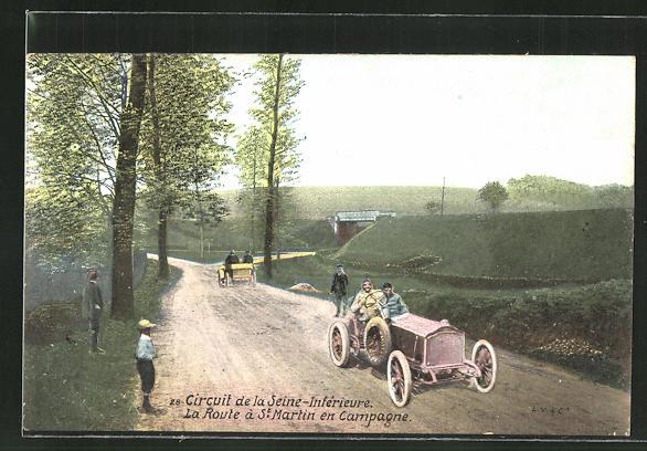 AK Circuit de la Seine-Interieure, La Route á St. Martin en Campagne, Autorennen