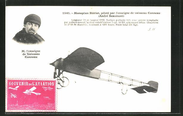 AK Monoplan Bleriot, piloté par l'enseigne de vaisseau Conneau Andre Beaumont, Flugzeug