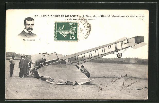 AK Les Pionniers de L'Air, L'Aeroplane Bleriot abime apres une chute, Flugzeug 0