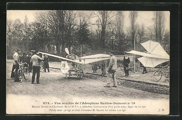 AK Vue arriere de l'Aéroplane Santos-Dumont, Flugzeug 0