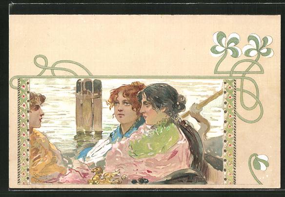 Künstler-AK sign.Tafuri: drei Frauen in einem Boot, Jugendstil 0