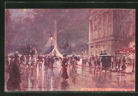 Künstler-AK Georges Stein: Paris, La Place de la Concorde, Vue la nnit