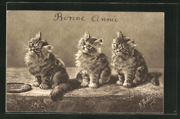 AK Bonne Année, drei Katzen 0