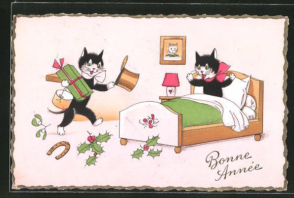 AK Bonne Année, vermenschlichte Katzen mit Geschenk 0
