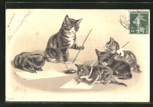 Präge-AK Katzen beim Schreiben 0