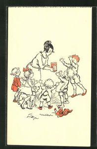 Künstler-AK Francisque Poulbot: Mutter hat ihren Kindern Ovomaltine mitgebracht, Reklame
