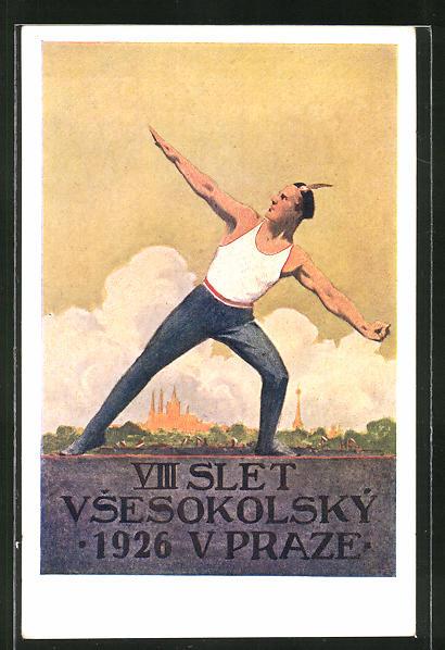Künstler-AK Prag, Sokol 1926, VIII Slet Vsesokolsky