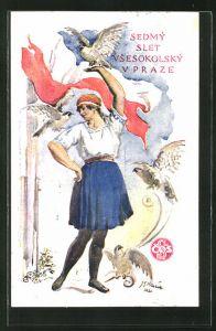 Künstler-AK Prag, Sokol 1920, VII Slet Vsesokolsky, Frau mit Vögeln