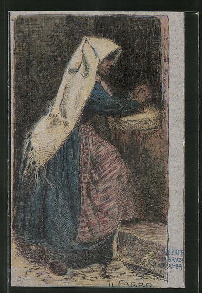Künstler-AK sign. Cascella: Bäuerin in Tracht beim Gebet 0