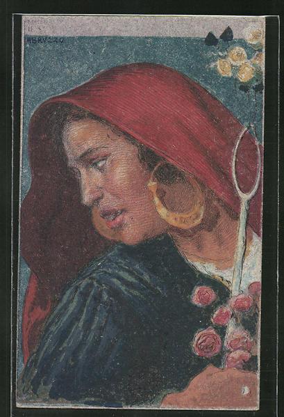 Künstler-AK sign. Cascella: Bäuerin in Tracht mit Kopftuch und Ohrringen
