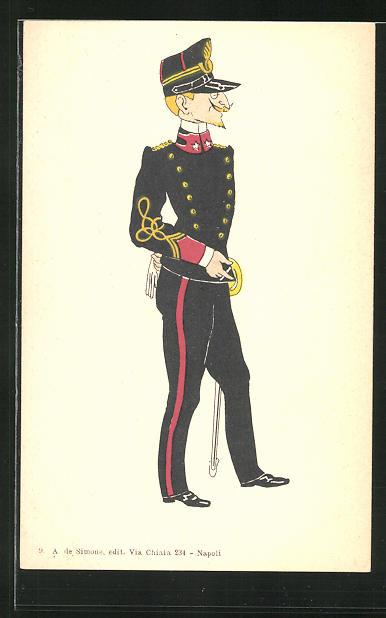 AK Karikatur eines italienischen Offiziers