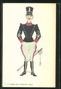AK Karikatur eines italienischen Offiziers in Uniform