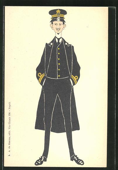 AK Karikatur eines italienischen Kapitäns