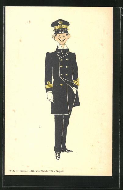 AK Karikatur eines italienischen Kapitäns in Uniform