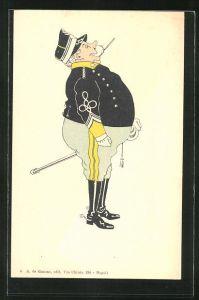 AK Karikatur eines beleibten italienischen Offiziers