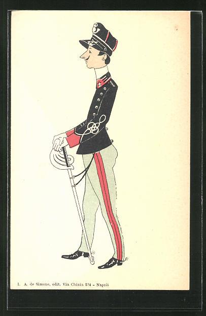 AK Italienischer Soldat in Uniform mit Degen, Karikatur