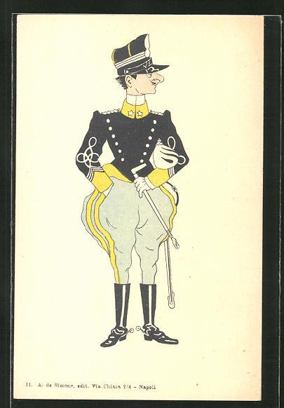 AK Karikatur eines italienischen Kavallerie-Offiziers 0
