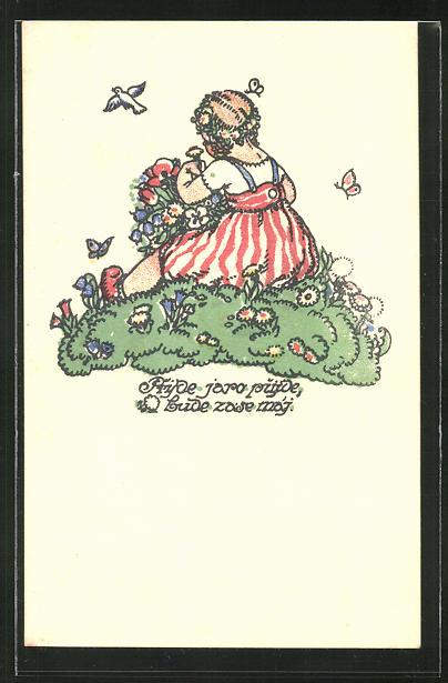 Künstler-AK M. Fischerova-Kvechova (MFK): Mädchen im gestreiften Kleid pflückt Blumen 0