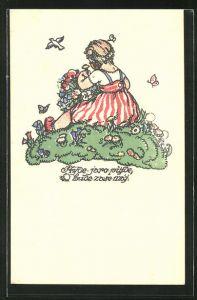 Künstler-AK M. Fischerova-Kvechova (MFK): Mädchen im gestreiften Kleid pflückt Blumen