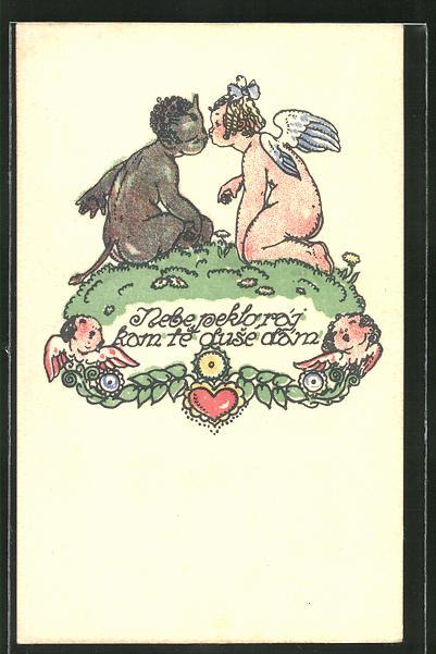 Künstler-AK M. Fischerova-Kvechova (MFK): Hellhäutiges Engelchen und dunkelhäutiges Teufelchen beim Kuss