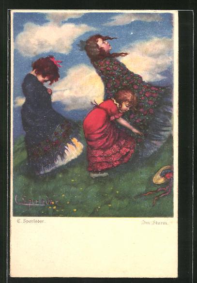Künstler-AK C. Sporleder: Mädchen im Sturm